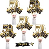 Blulu 50th Birthday Party Decoration Set Golden Birthday Party Centerpiece Sticks Glitter Table Toppers Party Supplies, 24 Pa