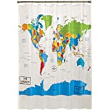 SKL HOME by Saturday Knight Ltd. E2149518102001 World Map Shower Curtain, 70x72 inches, Multicolored