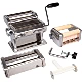 Pasta Maker Deluxe Set- Machine w Attachments for 5 Authentic Pastas- Spaghetti, Fettucini, Angel Hair, Ravioli, Lasagnette A