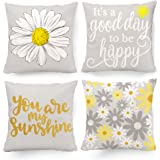 Hexagram Decorative Set of 4 Throw Pillow Covers Yellow and Grey, Pillow Covers 18 x 18 Sunflower Room Decor for Living Room
