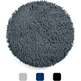 Pretigo Chenille Bath Rug Toilet Lid Cover, 16.5 Inch Size, Machine Washable, Ultra Soft Plush Fabric Covers, Fits Most Size