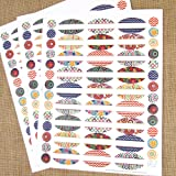 81 Kaleidoscope Oval Poly Waterproof Essential Oil Bottle Labels Plus 81 Round Cap Stickers by Rivertree Life