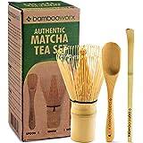 BambooWorx Japanese Tea Set, Matcha Whisk (Chasen), Traditional Scoop (Chashaku), Tea Spoon, The Perfect Set to Prepare a Tra