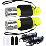 HECLOUD Professional 1200 Lumens Diving Flashlight with Battery and Charger, IPX8 Waterproof Bright LED Submarine Snorkeling