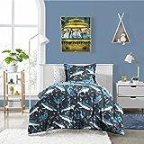 Dream Factory Sharks Ultra Soft Microfiber Comforter Set Twin, Blue