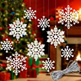 Whaline 40 Pcs White Glitter Snowflake Hanging Ornaments with 197 Inches Silver Rope, Christmas Tree Decorations Xmas Window
