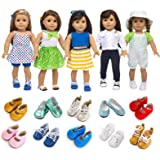 XFEYUE American 18 Inch Girl Doll Clothes and Accessories 5 Sets Doll Clothes Dress Outfits + 2 Random Style Shoes for 18 Inc