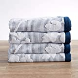Great Bay Home 4-Pack Hand Towel Set. 100% Cotton Floral Jacquard Hand Towels for Bathroom. Absorbent Plush Bathroom Hand Tow