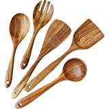 Wooden Utensils Set for Kitchen, ADLORYEA Wood Cooking Spoons Tools for Nonstick Cookware, 100% Handmade by Natural Teak Wood