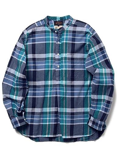 Madras Band Collar Shirt 11-11-3215-139: Blue