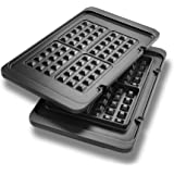 De'Longhi   2 x Waffle Plates   DLSK151   for Use with MultiGrill Contact Grill Plates   Black