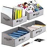 Artsdi Set of 4 Large Capacity Storage Bins and Baskets with Handles, Closet Shelf Organizer Bin, Foldable Trapezoid Storage