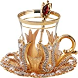 (Set of 6) Turkish Tea Glasses Set with Saucers Holders Spoons, Decorated with Swarovski Type Crystals and Pearl,24 Pcs (Gold