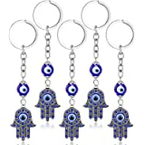 5 Pieces Hamsa Hand Keychain Evil Eye Silver Keychain Fatima Protection Charms Blue Good Luck Key Holder for Attaching to Key