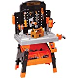 Decker Power Tool Workshop - Play Toy Workbench for Kids with Drill, Miter Saw and Working Flashlight - Build Your Own Tool B