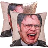 cygnus The Office Dwight Schrute Funny Gag Gifts Magic Reversible Sequin Pillow Cover Home Decorative Cushion Cover 16x16(Cha