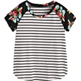 Romwe Women's Floral Print Short Sleeve Tops Striped Casual Blouses T Shirt