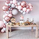 """Eanjia Balloon Arch & Garland Kit Double-Stuffed 5""""-18"""" Pastels Pink Gray Rose Gold Confetti Balloons Bulk 16ft for Wedding B"""