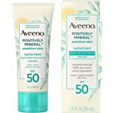 Aveeno Positively Mineral Sensitive Skin Daily Sunscreen Lotion for Face, Broad Spectrum SPF 50 with 100% Zinc Oxide, Lightwe