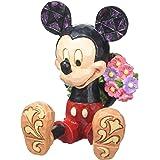 Disney Traditions 4054284 Mickey with Flowers Mini, Stone Multi-Colour, 5 x 5.5 x 7 cm