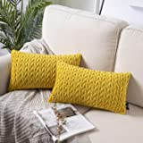 Phantoscope Pack of 2 Quilt Velvet Throw Pillow Covers Square Cushion Cover Pillowcase for Couch Bed and Chair, Yellow 12 x 2