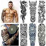 Full Arm Temporary Tattoo Set (6 Sheets), Konsait Extra Large Temporary Tattoo Realistic Black Fake Tattoo Body Stickers for