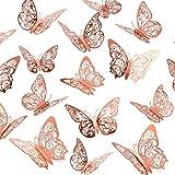 Crosize 72Pcs 3D Rose Gold Butterfly Wall Decor 3 Sizes Butterfly Decorations Butterfly Party Cake Decorations 3D Butterfly S
