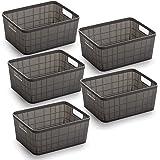 BINO Woven Plastic Storage Basket (5PK- S, Grey)