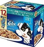 フィリックス キャットフード やわらかグリル 成猫 お魚バラエティ ツナ・サーモン・あじ 840g(70gx12)