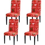 Ogrmar 4PCS Stretch Removable Washable Dining Room Chair Protector Slipcovers Christmas Decoration/Home Decor Dining Room Sea