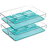 BINO Multi-Purpose Plastic Drawer Organizer, Plastic, Aqua Blue, 4- Section - 2 Pack