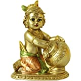 Hindu Lord Baby Krishna Statue - Indian Idol Krishna Figurines for Home Mandir Temple Pooja - India Murti Buddha Sculpture Re