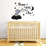 Dream Big Little One Elephant Wall Decal, Quote Wall Stickers, Baby Room Wall Decor, Vinyl Wall Decals for Children Baby Kids