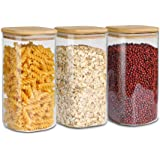 ComSaf Airtight Glass Storage Canister with Wood Lid (1400ml / 50oz), Set of 3 Clear Food Storage Container Jar with Sealing