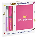 Bic My Message Kit Princess - Stationery Kit with 1 Ballpoint Pen 4 Colours/ 1 Highlighter Pink Grip/ 1 A6 White Notebook - P