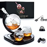 WEEBNG Whiskey Decanter,Globe Wine Decanter Set with 2 Glasses,Cleaning Beads,4 Stainless Steel Ice Cubes and Ice Tong,Bevera