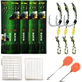 YOTO Carp Fishing Hair Rigs - 24Pcs High Carbon Steel Curved Barbed Carp Hook Swivel Boilies Fishing Rigs with Braided Thread