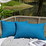 WAYIMPRESS Outdoor Pillows for Patio Furniture Waterproof Pillow Covers Square Garden Cushion Farmhouse Linen Throw Pillow Co