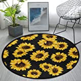 Round Area Rug Non-Slip Large Circle Rugs for Living Room Bedroom Beautiful Modern Microfiber Soft Carpet Machine Washable Fl