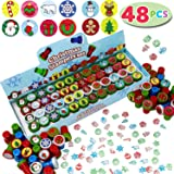 JOYIN 48 Pieces Christmas Assorted Stamps Kids Self-Ink Stampers (12 Different Designs, Plastic Stamps) for Christmas Party F