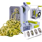 Brieftons QuickFold 5-Blade Spiralizer: 2018 Model, Versatile & Compact Foldable Vegetable Spiral Slicer, Best Veggie Pasta S