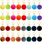 32 Pieces Pom Poms Keychains Colorful Fluffy Ball Pompoms Keychain Faux Rabbit Fur Pompoms Keyring for Girls Women DIY Hats S
