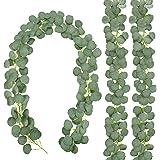 CEWOR 3 Packs Aartificial Eucalyptus Garland Artificial Vines Faux Silver Dollar Eucalyptus Plants for Wedding Party Home Dec