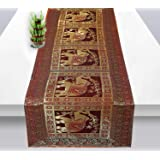 Real Online Seller Indian Rectangle Hand Art Elephant Banarsi Silk Table Runner 60 x 16 Inch Blue Color Table Cloth