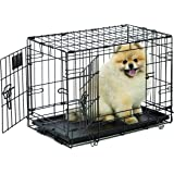 Dog Crate | Midwest Life Stages XS Double Door Folding Metal Dog Crate | Divider Panel, Floor Protecting Feet, Leak-Proof Dog