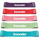 Insonder Resistance Bands Set - 5 Latex Exercise Loop Bands for Workout and Stretching for Legs Butt Glutes Yoga Crossfit Fit