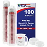 (Full Case of 100 each - Quart (32oz) PAINT MIXING CUPS) by Custom Shop - Cups are Calibrated with Multiple Mixing Ratios (1-