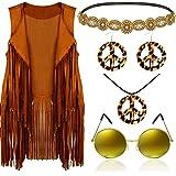 6 Pieces 60s 70s Hippie Costume Accessories Set Includes Tassels Fringe Sleeveless Faux Suede Vest Hippie Retro Round Sunglas