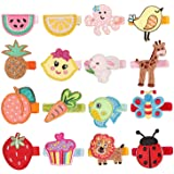 inSowni 16 Pack Embroidery Cute Fruit Animal Fully Lined Alligator Hair Clips Accessories Barrettes for Baby Girl Toddlers In