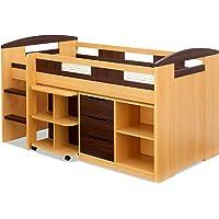 システムベッド Shelm(シェルム) 木製 高さ114cm コンパクト (ライトブラウン/ブラウン)